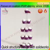 Customized wedding clear acrylic cupcake display stand / acrylic cake display