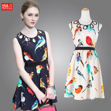 2015 women new European leg of the new European style bird print dress brand clothing wholesale summer tide