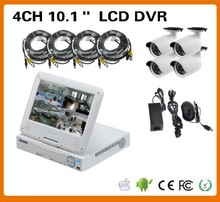 H.264 CCTV security 10 inch LCD DVR camera all in one 4CH D1 Record