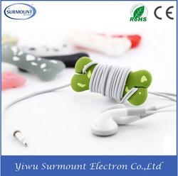 Promotional Christmas Gifts Colorful Cute Silicone Dog Bone Shape Earphone Headphones Cable Winder