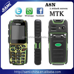 China 2016 Factory Unlocked Cellphones 1.44 Inch Mini Waterproof Cell Phone A8N