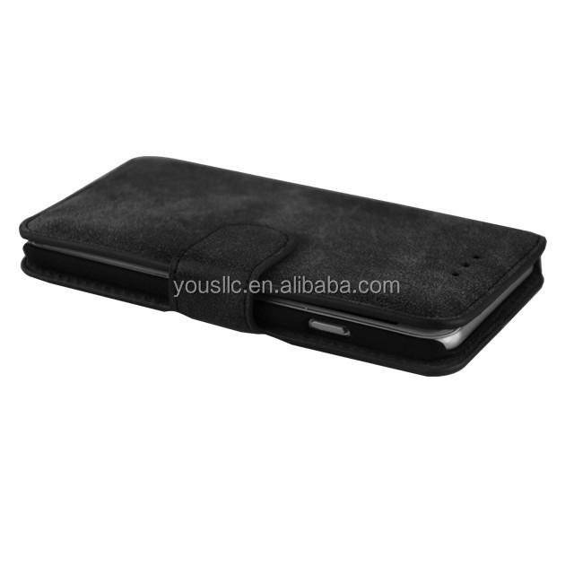 安いoem2015クラムシェル2台の携帯電話の革ケースギャラクシーs6