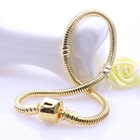 3mm new gold bracelet designs 18k Gold Plated Snake Chain 925 Sterling Silver Charms Bracelets for man & women DIY fine jewelry