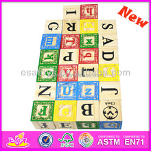 2014 New and Popular Wooden Children Block Set, High Quality Wooden Block Toy, Hot Sale Wooden Kids Alphabet Block Toys W13A037