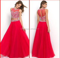 2015 Red Evening Dresses Elegant Two Piecees Promotion High Neck Off The Shoulder A-line Women Party Gowns Custom Made Sale