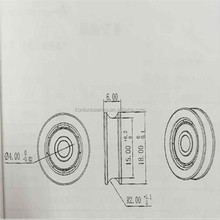 rubber seal cable pulley bearing PA66/POM/Nylon plastic coated wheel/sliding door roller bearing