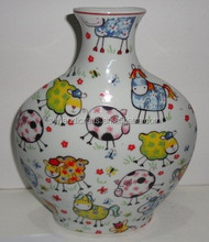 color glazed enameled cute animal paint Ceramic vase, ceramic flower vase for Europe and USA