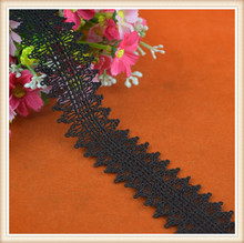 charming black color 100% polyester lace trim scalloped side lace trim for dress