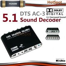 HSV680 Audio gear/audio rush 5.1 digital audio decoder /3.5mm bluetooth adapter