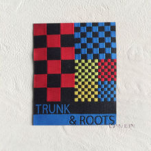 Colorful lattice woven label for clothing high quality garment woven patches