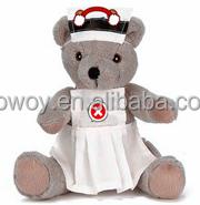 personalized logo imprinted custom mascot beanbag plush soft stuffed bear in a nurse uniform shirt dress bandana t-shirt bib tie