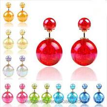 Top fashion 2015 double ball 10 colors ice crystal design stud earrings for girl women