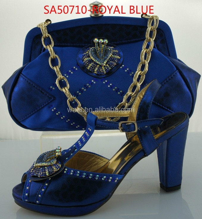 ... BLUE color 3 inch square heel shoes and matching clutch bags handbags