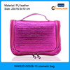 Fashion shiny PU leather pink waterproof cosmetic bag, bag waterproof