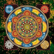 wall art decor mandala full pattern diamond painting with wooden frame FZ001