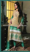 Yellow designer shalwar kameez Material