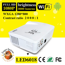 Android 3000 Lumens mini holographic WIFI mini 5.8 inch lcd 1080p led projector 1280*800 led mini pocket projector