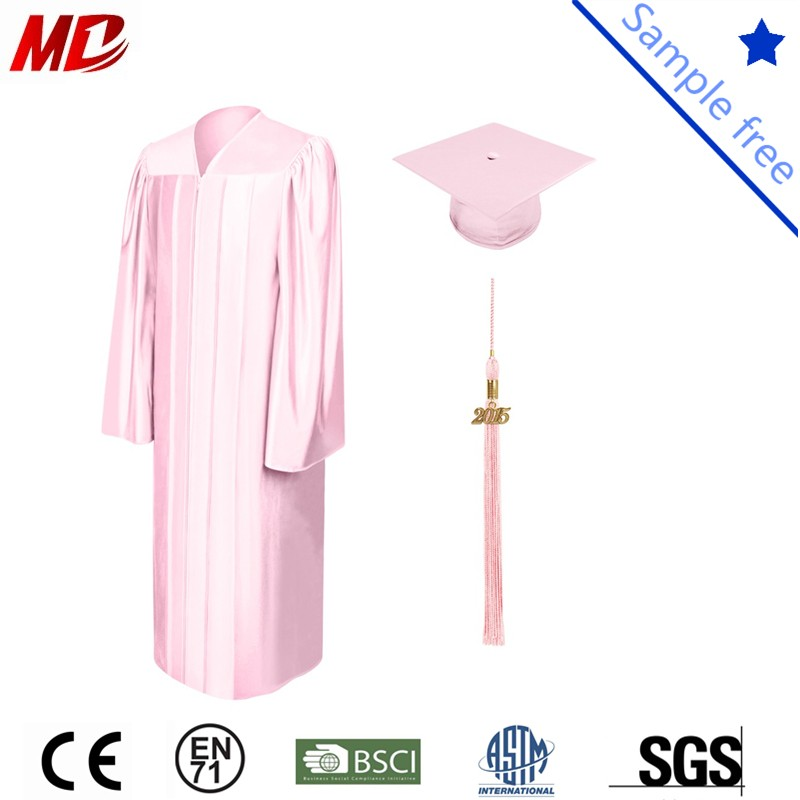 Pink shiny graduation cap and gown_