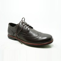 brogue lace up red line match mens italian fashion style leather dress shoes