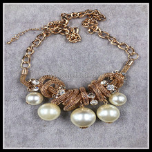 2015 new fashion chunky gold chain necklace pearl neckalce ,charm necklace