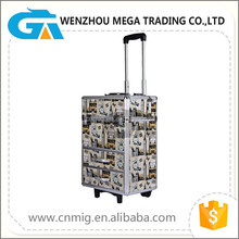 Colorful Aluminum Moving Trolley Case Professional Beauty Box Makeup Cosmetic Case