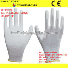 2015 new products 13gauge PU coated knitted polyester working gloves manufacturer in China