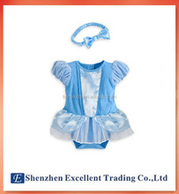 Princess Cinderella style baby girls jumpers with headband adorable baby dress romper