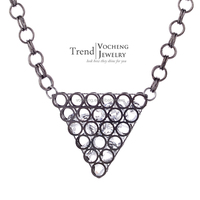 10pcs/lot 2 Colors Plating Chain Necklace Triangle Pendant Necklace Inlaid Crystal Collar Necklace (Vf-178*10) Vocheng Jewelry