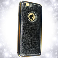 Aluminum + 100% genuine leather Cell Phone Case for iphone 5/ 6 with Back Cover