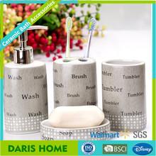 New words design 4 pcs brown ceramic bathroom set with brush, tumbler, wash