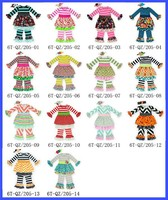 2015 New Fashion Baby Girl Clothes Ruffled Dress Leggings Set Outfit Wholesale Girls Children Boutique Fall Winter Clothing Set