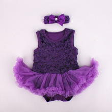 2015 fashion design small baby rompers dress with hairband rosette-trimmed romper dress for summer