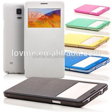 Leather Flip View Window Scratch Proof Phone Case For Samsung Galaxy Note 4