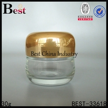 1oz cosmetic jar glass with gold lid