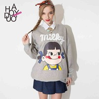 2015 New Women FUJIYA Candy Cute Girl Head Print Pullover Casual Sweaters for Wholesale Haoduoyi