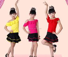Wholesale Spandex soft single shoulder pink children red latin dance dress