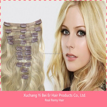 grade 7A brazilian virgin remy hair clip in human hair extension