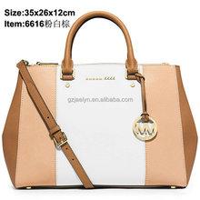 2015 women bags wholesale supplier fashion designer Medium color-block saffiano leather Satchel bags ladies fancy shoulder bags