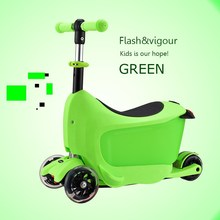 Fast folding deluxe model big PU wheels child kick scooter with patent