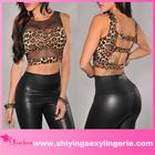 nova moda leopardo impressão malha acento cropped top