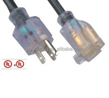 UL approval transparent extension cord with light