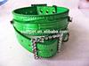 2.5cm Green DIY Dog Collar PU Leather Pet Collar Crocodile Pet Dog Collar