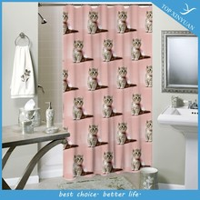 Cat printing Polyester shower curtain with 12pcs Hooks/bathroom fabric shower curtain