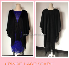 Fashion black suede scarf with leather fringe lace