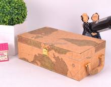 map PU leather red wine chest , wine bin