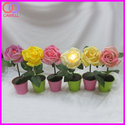 wholesale artifical rose led light flower pot