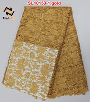 popular gold chemical lace embroidery fabric