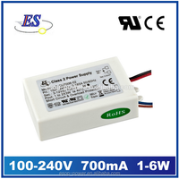 6W 21V 700mA AC-DC Constant current LED Driver Power Supply with CE UL