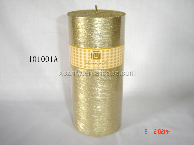 Popular christmas pillar candle in gold color decorative for Most popular candles