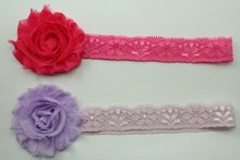 colorful chiffon flower lace headband for girl 2.5cm lace headband
